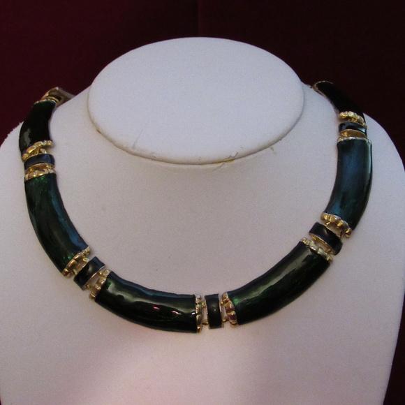 Goldtone Green Enamel Link Hinged Collar Necklace